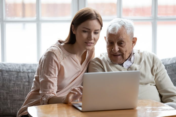 Helping Senior On Computer scaled